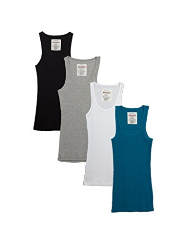 (Zenana Outfitters 4 Pack Womens Basic Ribbed Tank Top BLACK/WHITE/GREY/JADE S)