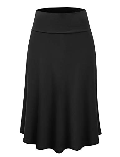 Lock and Love LL WB1105 Womens Lightweight Fold Over Flared Midi Skirt L Black