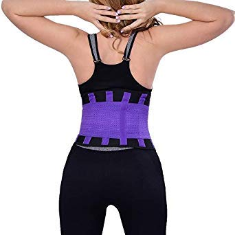 06a0939ea3d Women and Men Breathable Cummerbund Slimming Belt Body Shaper Corset Waist  Trainer Slim Underwear Waist Cincher Strap HH08 Color Plum Size L   Amazon.in  ...