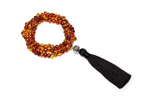 Genuine Amber Bracelet 108 Beads Tibetan Buddhist Link Wrist Bracelet Prayer Beads Mala