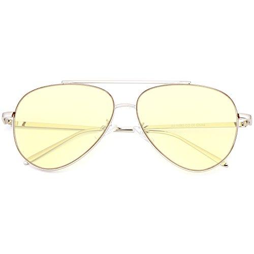 SUNGLASSES LUXE - Fashion Women Aviator Bright Color Lens Glasses - Sunglasses Luxe