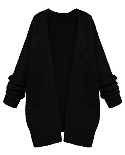 Pullover Schwarz Outerwear Tasche Tempo Fashion Donna Maniche Maglia Autunno Lunga Monocromo Libero Con Giacca Primaverile Sciolto Vintage Eleganti Cappotto Giovane Lunghe A H4FC4q