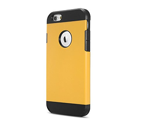 "iProtect iPhone 6 (4,7"") PC + TPU Housse Hybride protection dual Hard Case en noir jaune"