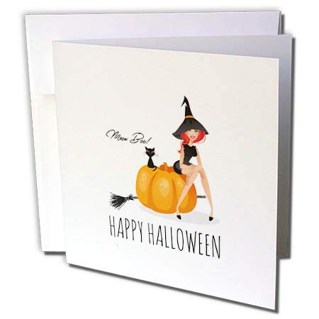 3dRose Alexis Design - Holidays Halloween - Pretty Witch Sits on a Pumpkin. Black cat. Happy Halloween, Meow, Boo - 6 Greeting Cards with envelopes -