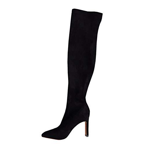 Grueso De Del calzado Botas 8 Altura Delgada Señaló Gamuza Negras Lbtsq Moda Mujer Caballero Cm sexy Tacon Black Altas C1xZww4q