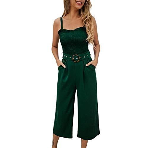 Womens Sleeveless Rompers, Summer Sexy O Neck Jumpsuit Playsuit with Sashes Strapless Pants with Pockets❤️Sumeimiya Blue ()