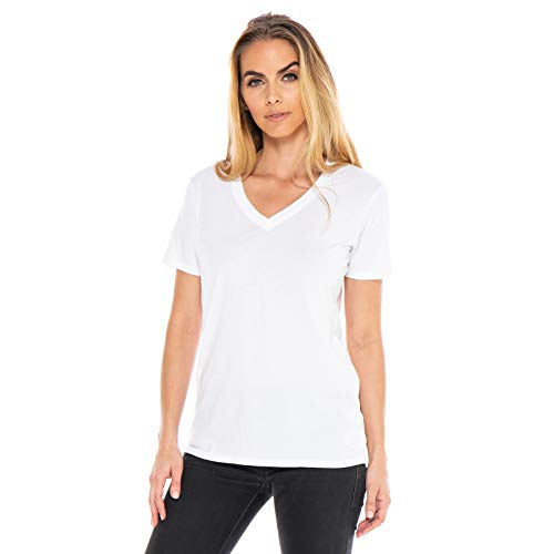 - Women's Designer T-Shirt Lightweight Boyfriend Fit Short Sleeve V-Neck Organic Cotton Pre-Shrunk Embroidered Made in USA (White, Small)