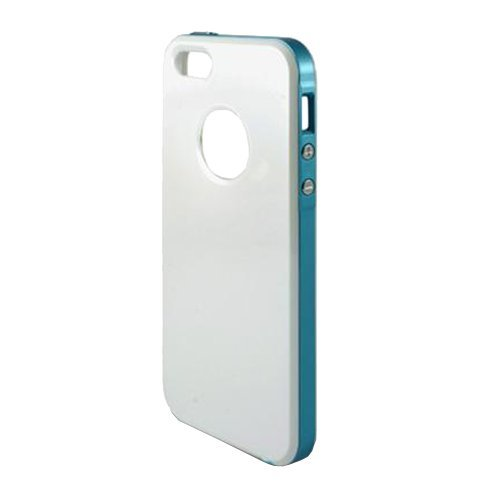 KSIX B0914CAR21 Hybrid One Hard Cover für Apple iPhone 5 weiß/blau