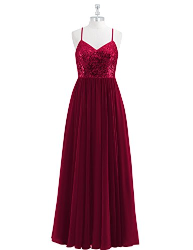 A-line Sequin - LMBRIDAL Womens A Line Sequins Long Bridesmaid Dress Chiffon Evening Gown Burgundy Custom