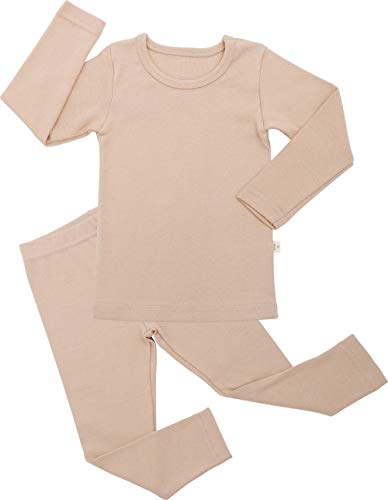 AVAUMA Baby Boys Girls Pajama Set Kids Toddler Snug fit Basic Cotton Sleepwear for Halloween Costume and Ordinary Day (Beige-1 ()