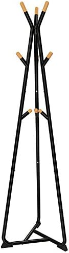 SONGMICS Coat Rack Stand, Coat Tree, Hall Tree Free Standing, with 9 Beech Wood Hooks, for Clothes, Hat, Bag, Black, Natural Grain