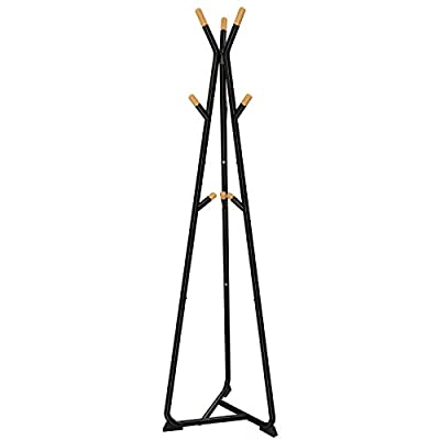SONGMICS Coat Rack Stand, Coat Tree, Hall Tree Free Standing, with 9 Beech Wood Hooks, for Clothes, Hat, Bag, Black, Natural Grain, URCR15BY - SONGMICS ORIGINAL DESIGN: 2018 SONGMICS designed coat tree, deserves your love. With simple, clean yet functional design, SONGMICS gives your home a brilliant update STABLE CONSTRUCTION: Triangular base ensure stability; bottom feet pads increase contact area with floor for added stability; each hook holds up to 11 lbs USER-FOCUSED DETAILS: Rounded beech hook ends prevent snags when you hang up or take clothes down; hooks designed in opposite direction make all 9 available without hindering each other - entryway-furniture-decor, entryway-laundry-room, coat-racks - 31uFC5PORiL. SS400  -