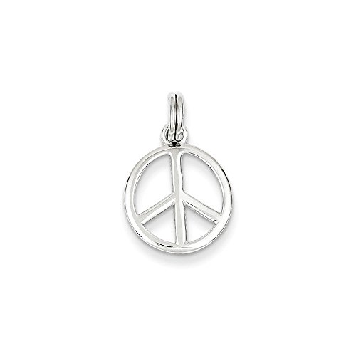 Polished Peace Sign Pendant - Sterling Silver Polished Peace Sign w/Spring Ring Charm Pendant (0.87 in x 0.55 in)