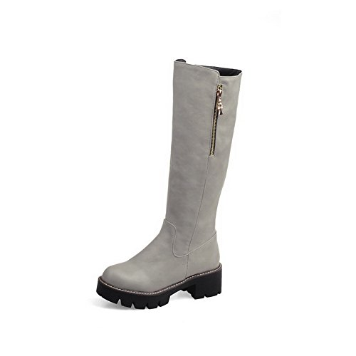 Toe Women's Materials Round Allhqfashion Boots Closed Blend Solid zippers Gray C4qwCFBn