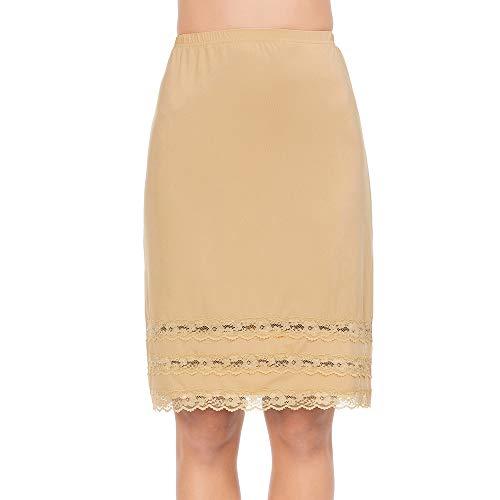 Half Slips for Women Underskirt Dress Extender Lace Trim Knee Length Midi Skirt Light Brown Small