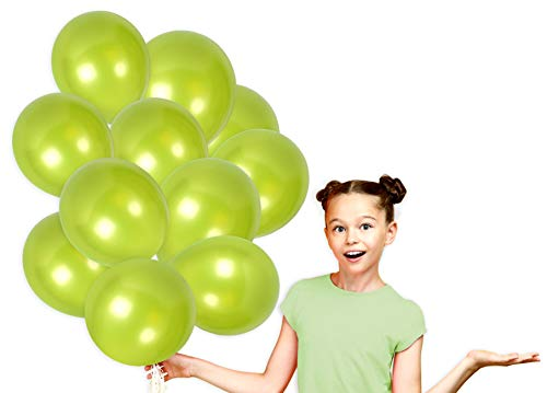 - Pack of 72 Metallic Lime Green Balloons with Curling Ribbons Bright Pearl Latex for Baby or Bridal Shower Decorations and Birthday Party Supplies