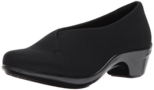 Aravon Women's Kitt Asym Dress Pump, Black Stretch, 12 D US