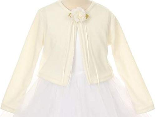 Big Girls Long Sleeve Flower Girl Cardigan Sweater Bolero (13KD3) Ivory 10
