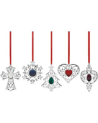 Lenox Bejeweled Silverplated Holiday Ornament Set - 5 Piece (5) - Amazon.com: Lenox Bejeweled Silverplated Holiday Ornament Set - 5