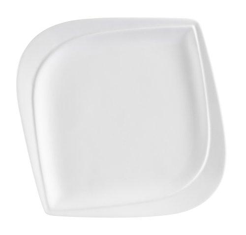 CAC China ASP-8 Aspen Tree 8-Inch New Bone White Porcelain Leaf Shape Square Plate, Box of 36