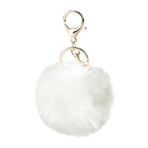 (Bestpriceam Real Fox Fur Ball with Artificial Fox Head Inlay Pearl Rhinestone Key Chain for Womens Bag or Cellphone or Car Pendant (Style_1, White))