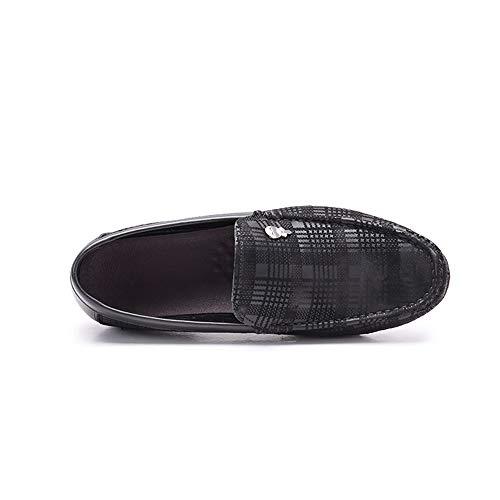 Zgsjbmh Pisos de Negocios Zapatos Mocasín liviano tamaño Gommino Corte de y Cuero Suave 5cm Negro único 0cm 24 Confortables Zapatos Mocasín 26 genuinos de Diseño Gommino Tamaño EU bajo de 42 rt4qn8Uwar