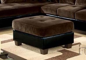 Ottoman with Block Feet Chocolate Plush Cushion Top Espresso Bycast