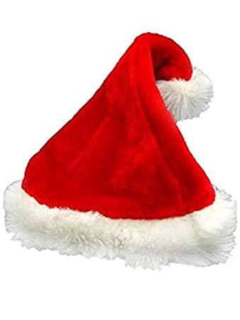 c9e154a4070a9 Image Unavailable. Image not available for. Color  Deluxe Santa Hat  Velveteen with White Faux ...