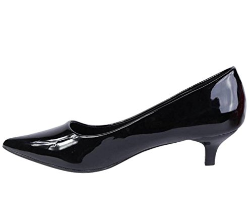 SHU CRAZY Womens Ladies Faux Patent Slip on Pointed Toe Low Heel Smart Work Party Court Shoes - M87 Black CdCRtEWzBR