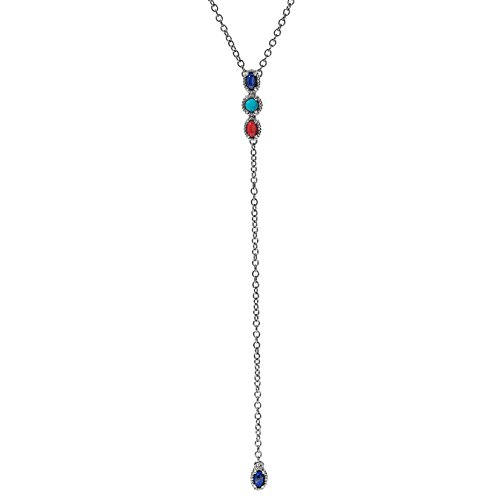 Carolyn Pollack Sterling Silver Red Coral, Blue Lapis and Turquoise Gemstone 4-Stone Y Necklace 16 to 18 Inch