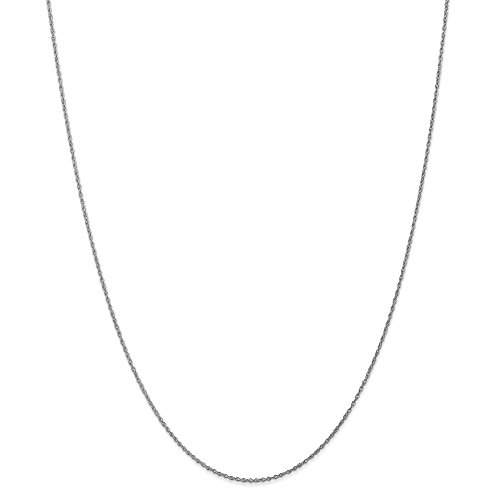Lite Baby Rope Chain (10k White Gold .8mm Polished Lite Baby Rope Chain Necklace 10WPE3)