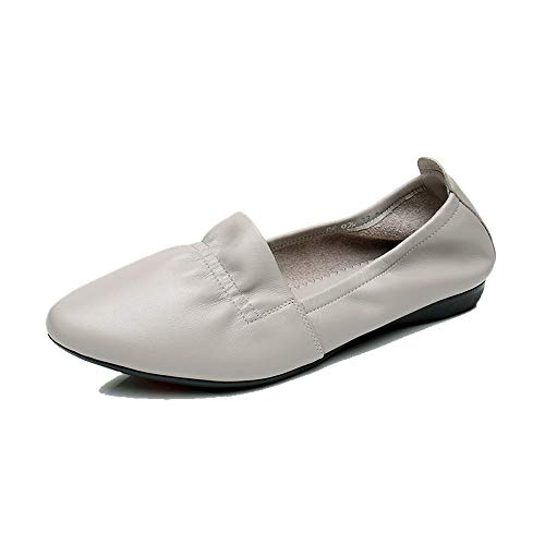 shoes pointed Grey casual shallow flat fashion shoes Leather single work shoes ladies FLYRCX shoes nWXx1tBB