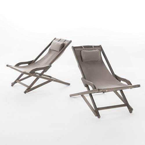 (GDF Studio Northland Outdoor Wood and Canvas Sling Chair (Set of 2) (Grey))