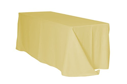 90 x 156 Inch Rectangular Polyester Tablecloth - Pastel Yellow,Premium Quality Seamless Table Cloth for 8 Ft Standard Rectangle Tables, Ideal for Wedding, Restaurant, Kitchen, Party, and other Events ()