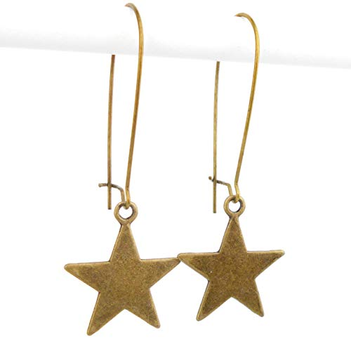 Star Earrings on very Long Earwires, with an Antique Bronze finish, includes gift box (Bronze London Finish)