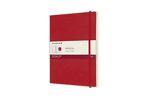 "Moleskine Paper Tablet Hard Cover Smart Notebook, Ruled, Extra Large (7.5"" x 9.5"") Scarlet Red - Compatible w/Moleskine Pen+ Ellipse (Sold Separately) & App, Digitize & Organize Notes, 176 Pages"