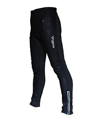 Wellcls Windproof Cycling 3D GEL Padded Pants Bike Bicycle Wear Fleece Winter Thermal (Black, X-Large) (Race Thermal)