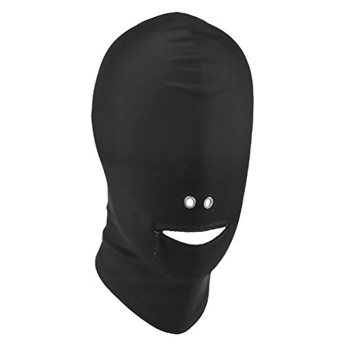 MSemis Black Breathable Unisex Blindfold Face Cover Spandex Open Eye Mouth Hood Mask Costumes Zipper Mouth with Two Holes for Nose One (Zipper Face Costume Men)