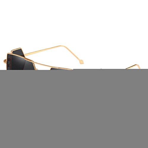 d'objectif de lunettes quatre soleil pour Vintage verres rectangle lunettes Gris Inlefen Retro Doré soleil de hommes femmes q6Czw