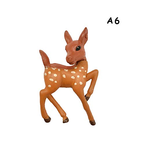 langery 1pcs Cute Garden Gnomes Resin Crafts DIY Artificial Animal Figurines Miniatures Deer Mini Giraffe Succulents Charms