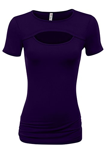 Simlu Womens Plum Short Sleeve Top Purple Cut Out Top Purple Cute Summer Tops Ladies T Shirt (Sexy Plum)