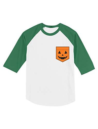 Jack O' Lantern Halloween Pumpkin Pocket Toddler Raglan 3/4 Sleeve Baseball Tee 4T Green/White ()