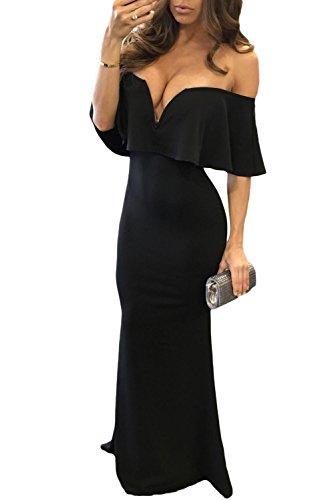 Sleeveless Wings Backless V-collar Wedding Dress Black - 1