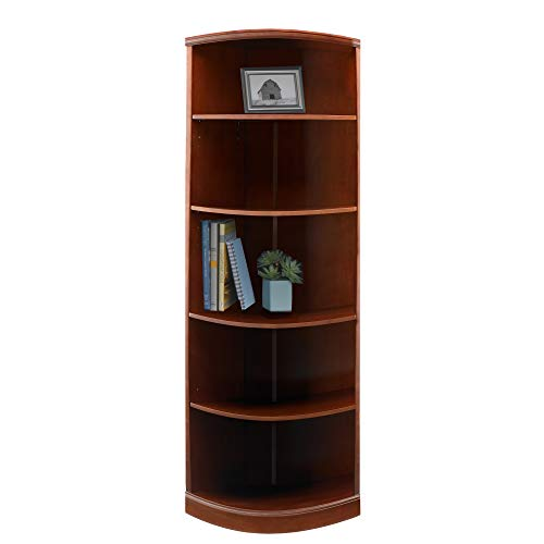 Mayline SBQ5SCR Sorrento Quarter Round Corner Bookcase, 5 Shelf, Bourbon Cherry Veneer