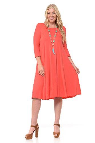 Pastel by Vivienne Women's A-Line Trapeze Midi Dress Plus Size X-Large Coral (Coral And Blue Dress For Women)