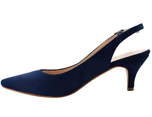 Dos Avec Bleu Chaussures Le Les Talon Femmes Des 36 Classics Espigones Sur Eu 41 Marine À Pour Sangles Boucles Et Greatonu HBqpX7X