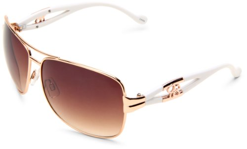 Jessica Simpson Women's J515 RGDWH Oval Sunglasses,Rose Gold & White Frame/Brown To Pink Gradient Lens,One - Sunglasses Aviator Jessica Simpson