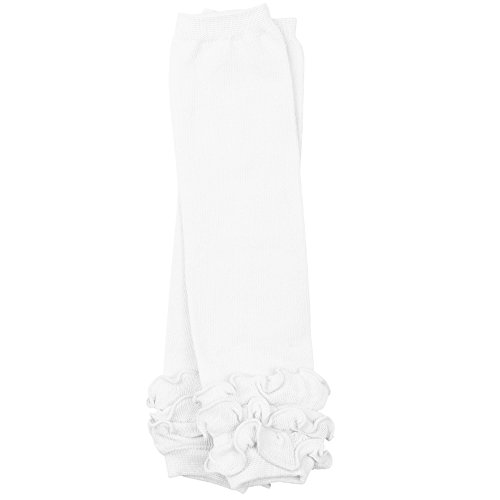 juDanzy ruffled leg warmers for baby toddler girls (One Size (12 pounds to 10 years), Solid White Triple Ruffle)