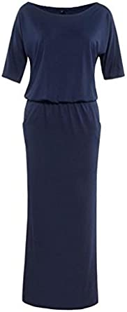 WINNNGOO Women Dress Summer Dress Sundresses Bohemian Dress Beach Holiday Skirt Evening Formal Dress Short Skirt Women Summer Long Maxi Boho Evening Party Dress with Pocket