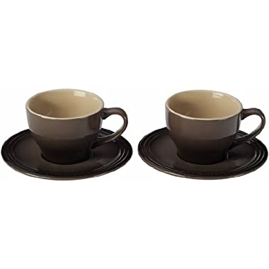 Le Creuset Stoneware Set of 2 Cappuccino Cups and Saucers, Truffle